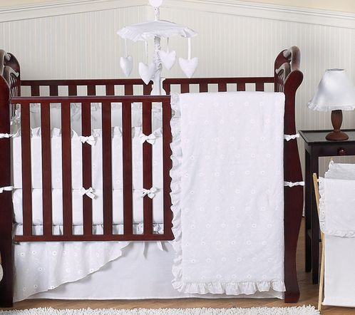 White Eyelet Baby Bedding - 9pc Crib Set - Click to enlarge
