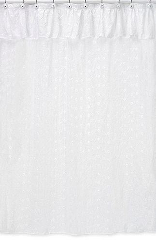 White Eyelet Kids Bathroom Fabric Bath Shower Curtain - Click to enlarge
