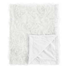 White Floral Rose Baby Girl Blanket Receiving Security Swaddle for Newborn or Toddler Nursery Car Seat Stroller Soft Minky by Sweet Jojo Designs - Solid Flower Luxurious Elegant Princess Vintage Boho Shabby Chic Luxury Glam High End Roses