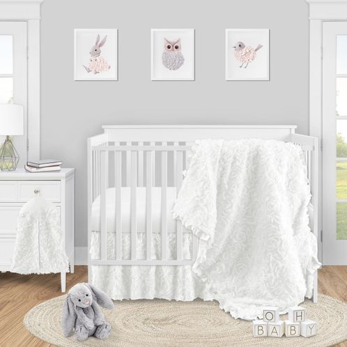 White Floral Rose Baby Girl Nursery Crib Bedding Set by Sweet Jojo Designs - 4 pieces - Solid Flower Luxurious Elegant Princess Vintage Boho Shabby Chic Luxury Glam High End Ruffle Roses - Click to enlarge