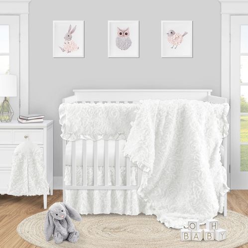White Floral Rose Baby Girl Nursery Crib Bedding Set by Sweet Jojo Designs - 5 pieces - Solid Flower Luxurious Elegant Princess Vintage Boho Shabby Chic Luxury Glam High End Ruffle Roses - Click to enlarge
