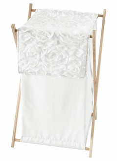 White Floral Rose Baby Kid Clothes Laundry Hamper by Sweet Jojo Designs - Solid Flower Luxurious Elegant Princess Vintage Boho Shabby Chic Luxury Glam High End Roses