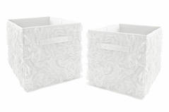 White Floral Rose Foldable Fabric Storage Cube Bins Boxes Organizer Toys Kids Baby Childrens by Sweet Jojo Designs - Set of 2 - Solid Flower Luxurious Elegant Princess Vintage Boho Shabby Chic Luxury Glam High End Roses