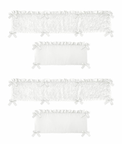 White Floral Rose Girl Baby Nursery Crib Bumper Pad by Sweet Jojo Designs - Solid Flower Luxurious Elegant Princess Vintage Boho Shabby Chic Luxury Glam High End Ruffle Roses