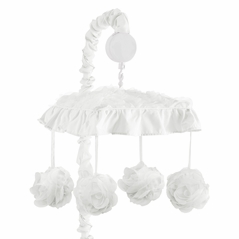 White Floral Rose Girl Baby Nursery Musical Crib Mobile by Sweet Jojo Designs - Solid Flower Luxurious Elegant Princess Vintage Boho Shabby Chic Luxury Glam High End Ruffle Roses