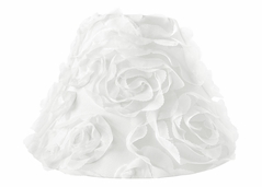 White Floral Rose Lamp Shade by Sweet Jojo Designs - Solid Flower Luxurious Elegant Princess Vintage Boho Shabby Chic Luxury Glam High End Roses