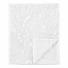 White Floral Vintage Lace Baby Girl Blanket Receiving Security Swaddle for Newborn or Toddler Nursery Car Seat Stroller Soft Minky by Sweet Jojo Designs - Solid Luxurious Elegant Princess Boho Shabby Chic Luxury Glam Flower High End Boutique