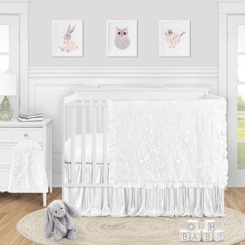 White Floral Vintage Lace Baby Girl Nursery Crib Bedding Set by Sweet Jojo Designs - 4 pieces - Solid Crinkle Crushed Velvet Luxurious Elegant Princess Boho Shabby Chic Luxury Glam Flower High End Boutique Ruffle - Click to enlarge