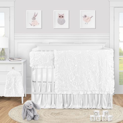 White Floral Vintage Lace Baby Girl Nursery Crib Bedding Set by Sweet Jojo Designs - 5 pieces - Solid Crinkle Crushed Velvet Luxurious Elegant Princess Boho Shabby Chic Luxury Glam Flower High End Boutique Ruffle - Click to enlarge