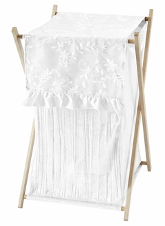 White Floral Vintage Lace Baby Kid Clothes Laundry Hamper by Sweet Jojo Designs - Solid Crinkle Crushed Velvet Luxurious Elegant Princess Boho Shabby Chic Luxury Glam Flower High End Boutique Ruffle