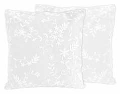 White Floral Vintage Lace Decorative Accent Throw Pillows by Sweet Jojo Designs - Set of 2 - Solid Luxurious Elegant Princess Boho Shabby Chic Luxury Glam Flower High End Boutique