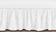 White Floral Vintage Lace Girl Baby Nursery Crib Bed Skirt Dust Ruffle by Sweet Jojo Designs - Solid Luxurious Elegant Princess Boho Shabby Chic Luxury Glam Flower High End Boutique
