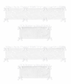 White Floral Vintage Lace Girl Baby Nursery Crib Bumper Pad by Sweet Jojo Designs - Solid Crinkle Crushed Velvet Luxurious Elegant Princess Boho Shabby Chic Luxury Glam Flower High End Boutique Ruffle