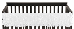 White Floral Vintage Lace Girl Long Front Crib Rail Guard Baby Teething Cover Protector Wrap by Sweet Jojo Designs - Solid Crinkle Crushed Velvet Luxurious Elegant Princess Boho Shabby Chic Luxury Glam Flower High End Boutique Ruffle