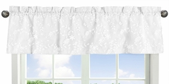White Floral Vintage Lace Window Treatment Valance by Sweet Jojo Designs - Solid Luxurious Elegant Princess Boho Shabby Chic Luxury Glam Flower High End Boutique