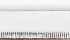White Girl Baby Nursery Crib Bed Skirt Dust Ruffle by Sweet Jojo Designs - Solid Color Tassle Fringe for Lemon Floral Collection
