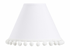 White Lamp Shade by Sweet Jojo Designs - Gender Neutral Solid Color Bohemian Southwest Tribal Pom Pom for Llama Collection
