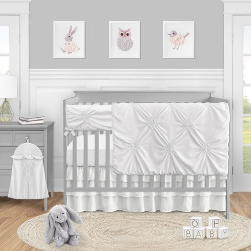 White Shabby Chic Harper Baby Girl Nursery Crib Bedding Set by Sweet Jojo Designs - 5 pieces - Solid - Click to enlarge