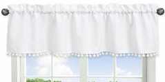 White Window Treatment Valance by Sweet Jojo Designs - Gender Neutral Solid Color Bohemian Southwest Tribal Pom Pom for Llama Collection