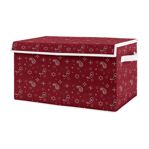 Wild West Bandana Boy Small Fabric Toy Bin Storage Box Chest For Baby Nursery or Kids Room by Sweet Jojo Designs - Red and Brown Western Southern Country Cowboy - Click to enlarge