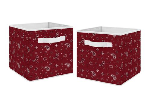 Wild West Bandana Foldable Fabric Storage Cube Bins Boxes Organizer Toys Kids Baby Childrens by Sweet Jojo Designs - Set of 2 - Red Western Southern Country Cowboy - Click to enlarge