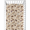 Wild West Boy Jersey Stretch Knit Baby Fitted Crib Sheet for Soft Toddler Bed Nursery by Sweet Jojo Designs - Red, Blue, Tan Western Cowboy Southern Country Horse