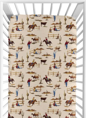 Wild West Boy Jersey Stretch Knit Baby Fitted Crib Sheet for Soft Toddler Bed Nursery by Sweet Jojo Designs - Red, Blue, Tan Western Cowboy Southern Country Horse - Click to enlarge