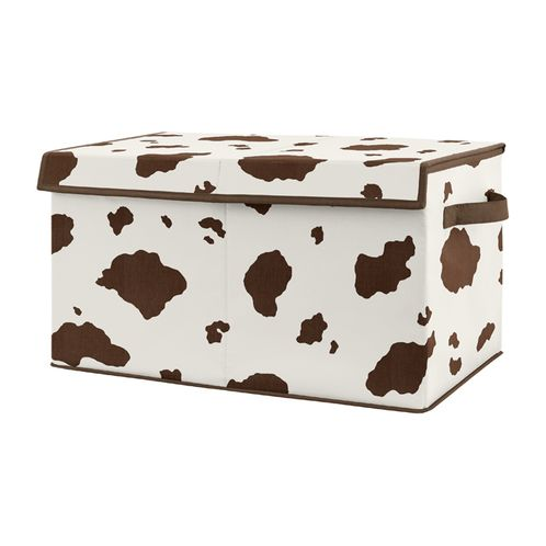 Wild West Cow Print Boy Small Fabric Toy Bin Storage Box Chest For Baby Nursery or Kids Room by Sweet Jojo Designs - Brown and Cream Western Southern Country Animal - Click to enlarge