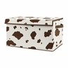 Wild West Cow Print Boy Small Fabric Toy Bin Storage Box Chest For Baby Nursery or Kids Room by Sweet Jojo Designs - Brown and Cream Western Southern Country Animal