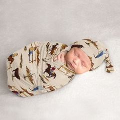 Wild West Cowboy Baby Boy Cocoon and Beanie Hat 2pc Set Jersey Stretch Knit Sleeping Bag for Infant Newborn Nursery Sleep Wrap Sack by Sweet Jojo Designs - Red, Blue, Tan Western Southern Country Horse