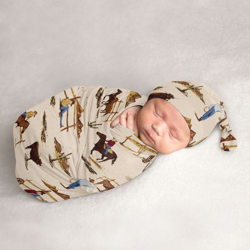 Wild West Cowboy Baby Boy Cocoon and Beanie Hat 2pc Set Jersey Stretch Knit Sleeping Bag for Infant Newborn Nursery Sleep Wrap Sack by Sweet Jojo Designs - Red, Blue, Tan Western Southern Country Horse - Click to enlarge
