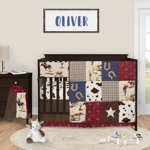 Wild West Cowboy Baby Boy Nursery Crib Bedding Set by Sweet Jojo Designs - 5 pieces - Red Blue and Tan Western Horse - Click to enlarge