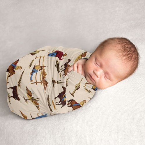 Wild West Cowboy Baby Boy Swaddle Blanket Jersey Stretch Knit for Newborn or Infant Receiving Security by Sweet Jojo Designs - Red, Blue, Tan Western Southern Country Horse - Click to enlarge