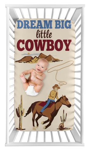 Wild West Cowboy Boy Fitted Crib Sheet Baby or Toddler Bed Nursery Photo Op by Sweet Jojo Designs - Red, Blue and Tan Western Southern Country Horse - Click to enlarge