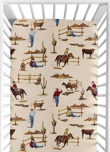 Wild West Cowboy Fitted Crib Sheet for Baby and Toddler Bedding Sets by Sweet Jojo Designs - Cowboy Print - Click to enlarge