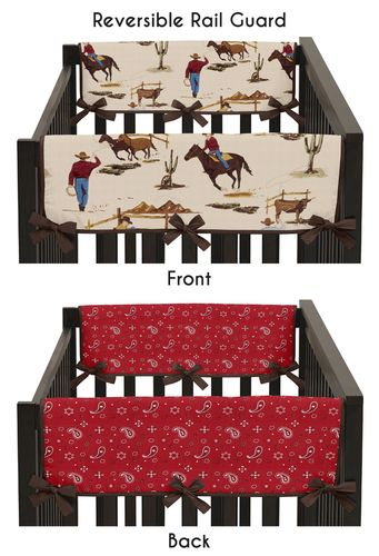 Wild West Cowboy Western Baby Crib Side Rail Guard Covers by Sweet Jojo Designs - Set of 2 - Click to enlarge