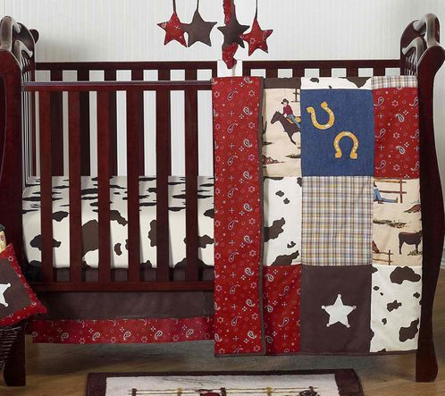 Wild West Western Horse Cowboy Baby Bedding - 4pc Crib Set - Click to enlarge