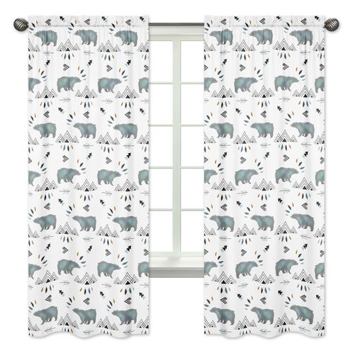 Window Treatment Panels Curtains for Bear Mountain Watercolor Collection by Sweet Jojo Designs - Set of 2 - Click to enlarge