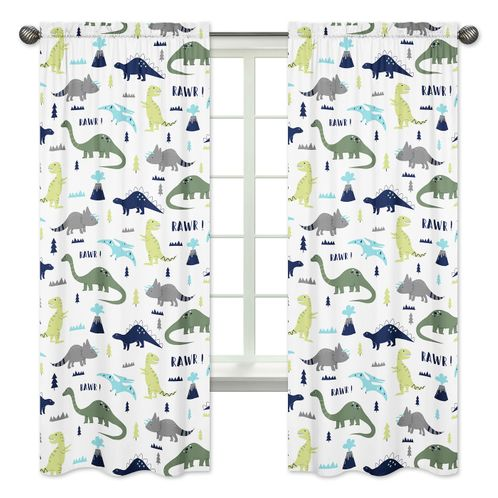 Window Treatment Panels for Blue and Green Mod Dinosaur Collection - Set of 2 - Click to enlarge