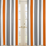 Window Treatment Panels for Gray and Orange Stripe Panels - Set of 2