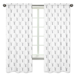 Window Treatment Panels for Grey and White Woodland Deer Collection - Set of 2