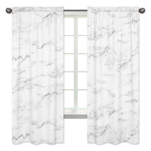 Window Treatment Panels for Grey, Black and White Marble Collection - Set of 2 - Click to enlarge