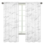 Window Treatment Panels for Grey, Black and White Marble Collection - Set of 2
