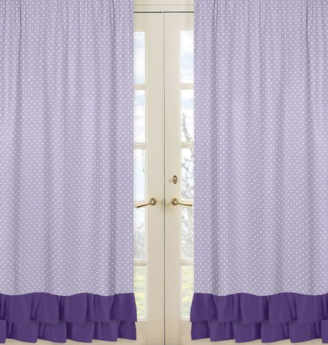 Window Treatment Panels for Lavender, Purple, Black and White Sloane Collection - Set of 2 - Click to enlarge