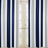 Window Treatment Panels for Navy Blue and Gray Stripe Collection - Set of 2