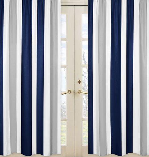 Window Treatment Panels for Navy Blue and Gray Stripe Collection - Set of 2 - Click to enlarge