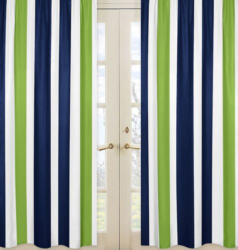 Window Treatment Panels for Navy Blue and Lime Green Stripe Collection - Set of 2 - Click to enlarge