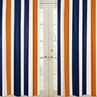 Window Treatment Panels for Navy Blue and Orange Stripe Collection - Set of 2