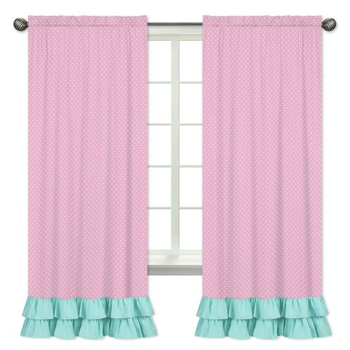 Window Treatment Panels for Pink, Gray and Turquoise Skylar Collection - Set of 2 - Click to enlarge