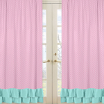 Window Treatment Panels for Pink, Gray and Turquoise Skylar Collection - Set of 2